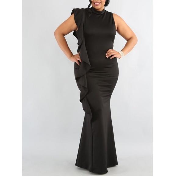 Dresses Plus Black Side Ruffle Mermaid Maxi Dress Gown Poshmark